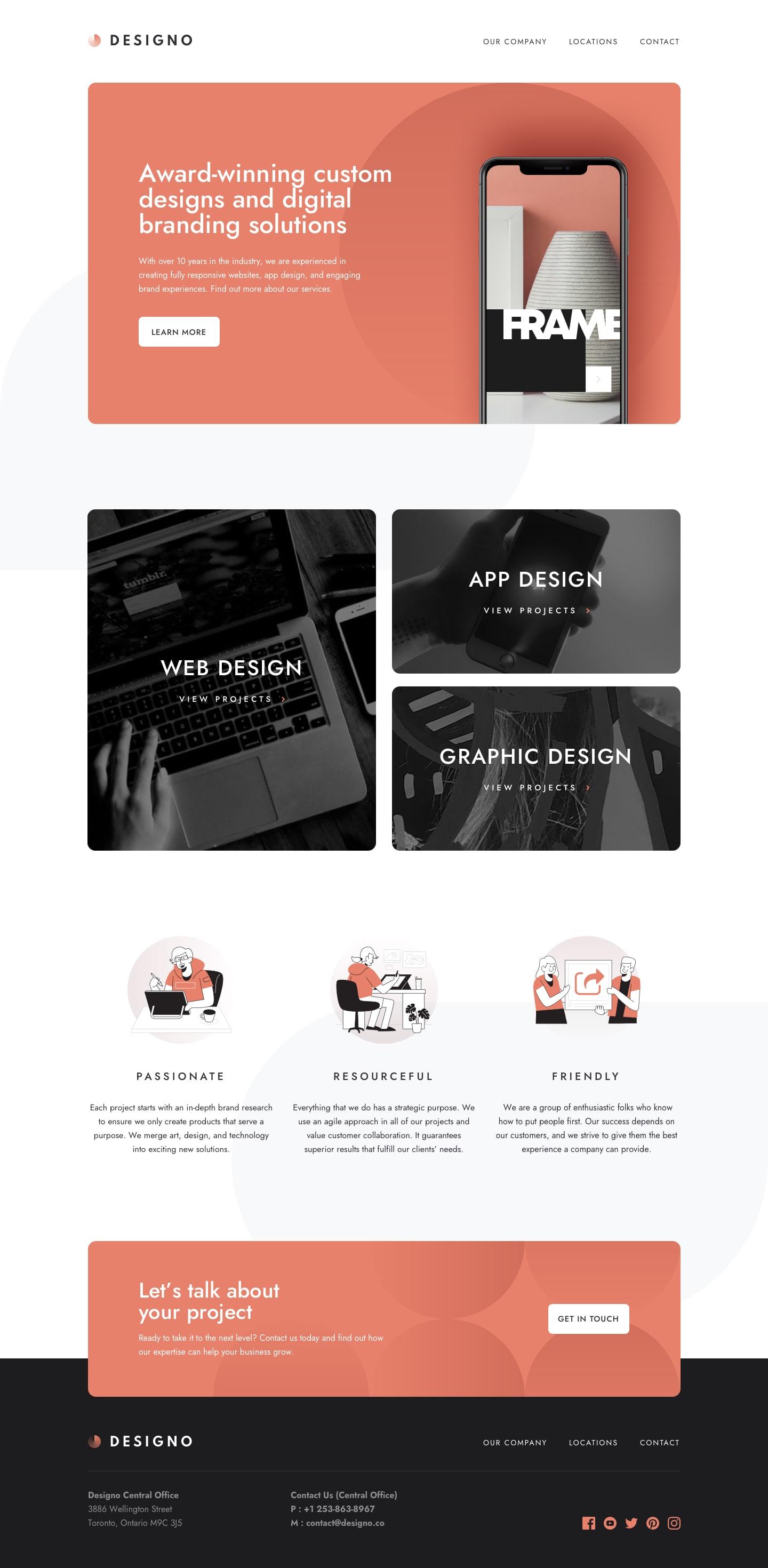 Design preview for Designo multi-page website coding challenge