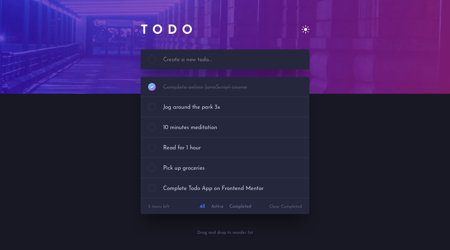 Design preview for Todo app coding challenge