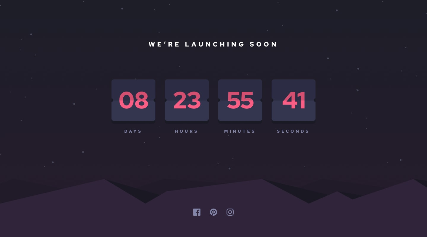 Design preview for Launch countdown timer coding challenge