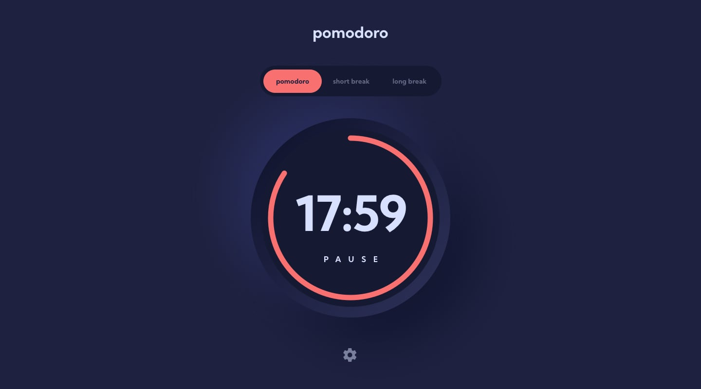 Design preview for Pomodoro app coding challenge