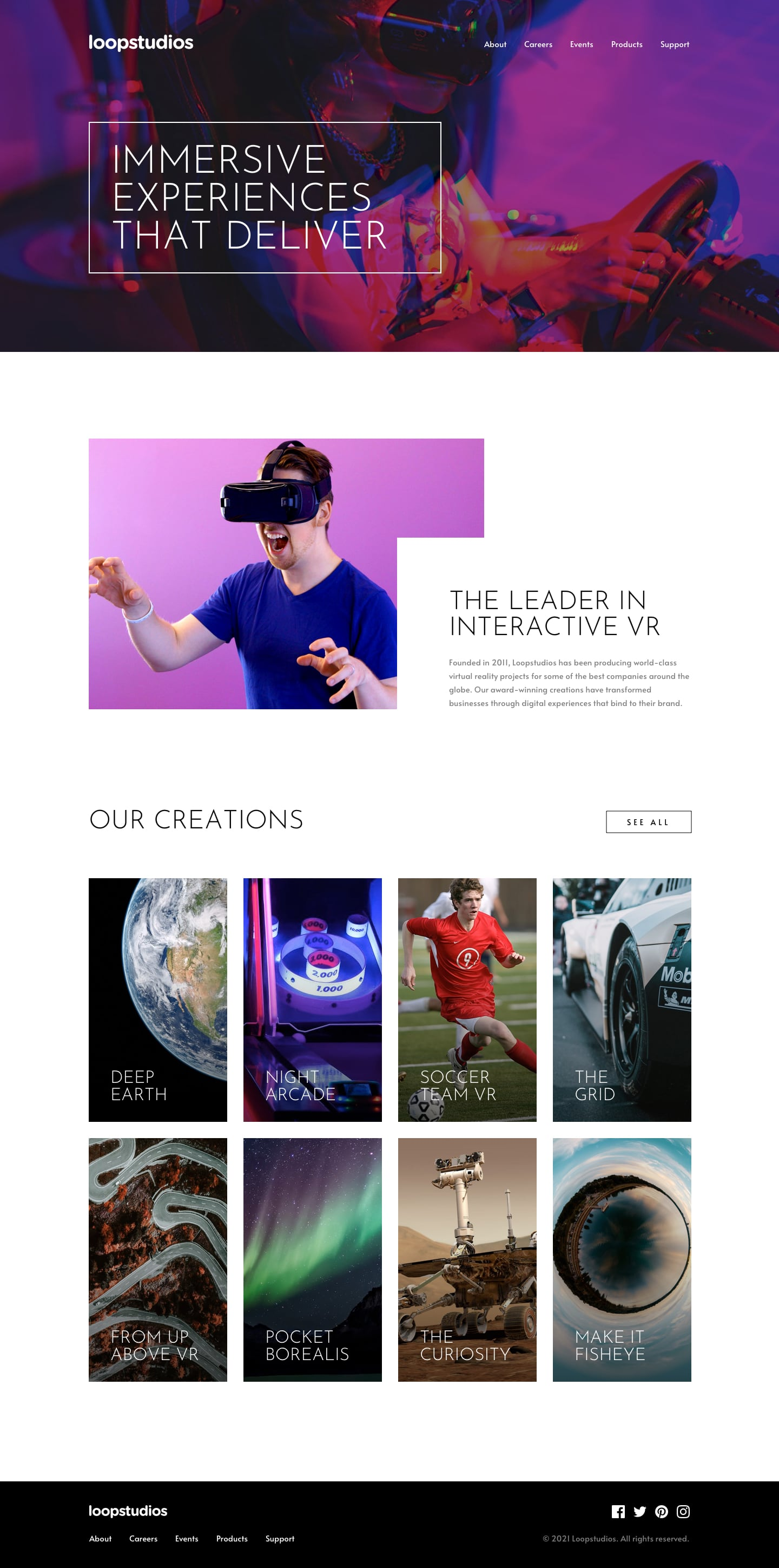 Design preview for Loopstudios landing page coding challenge