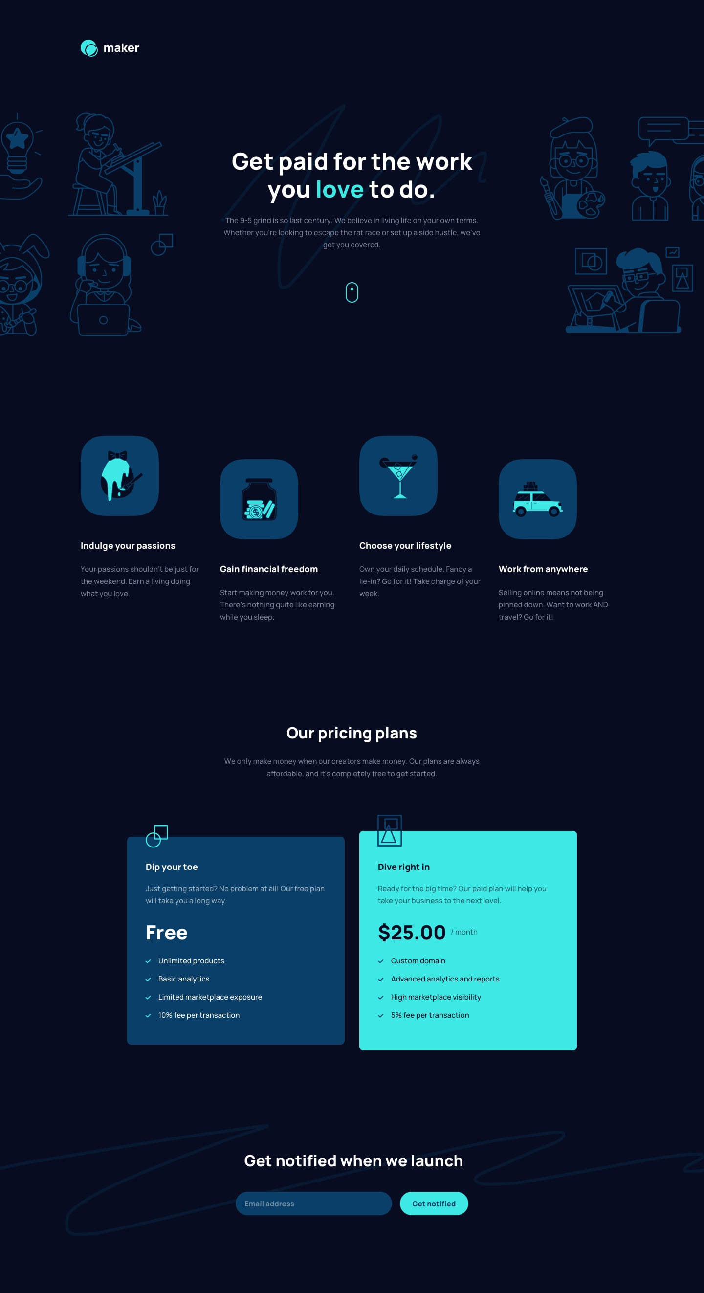 Design preview for Maker pre-launch landing page coding challenge