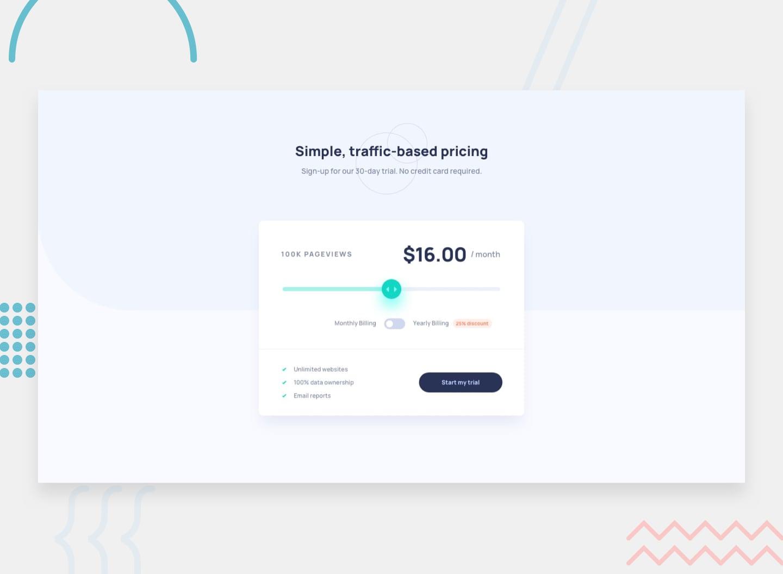 Desktop design screenshot for the Interactive pricing component coding challenge
