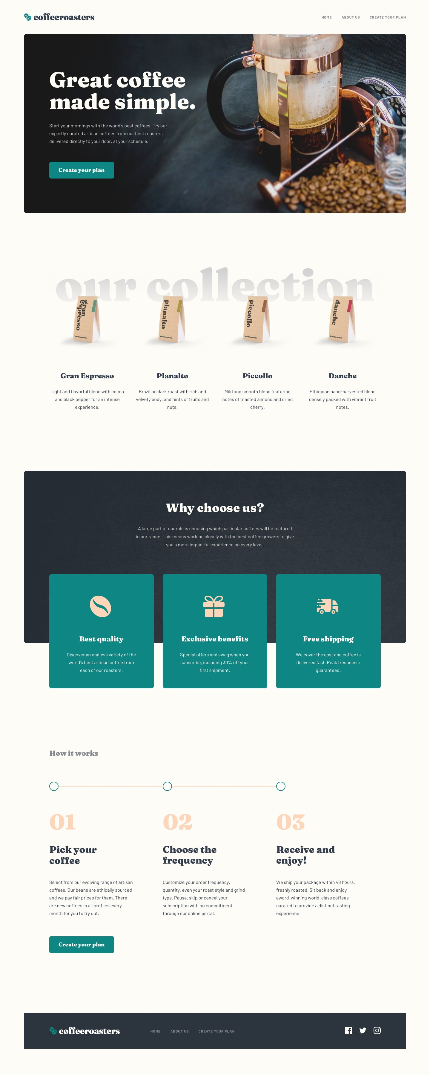 Design preview for Coffeeroasters subscription site coding challenge