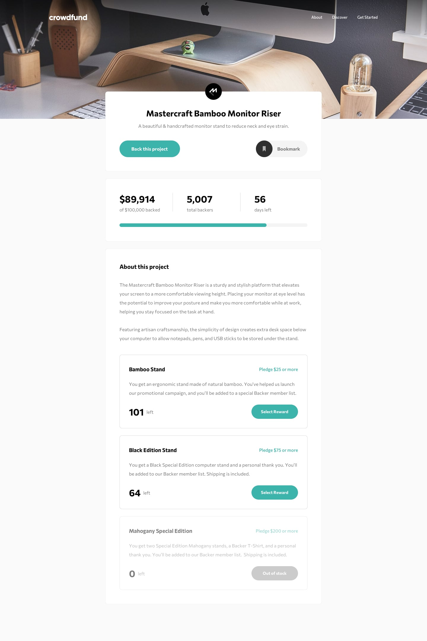 Design preview for Crowdfunding product page coding challenge