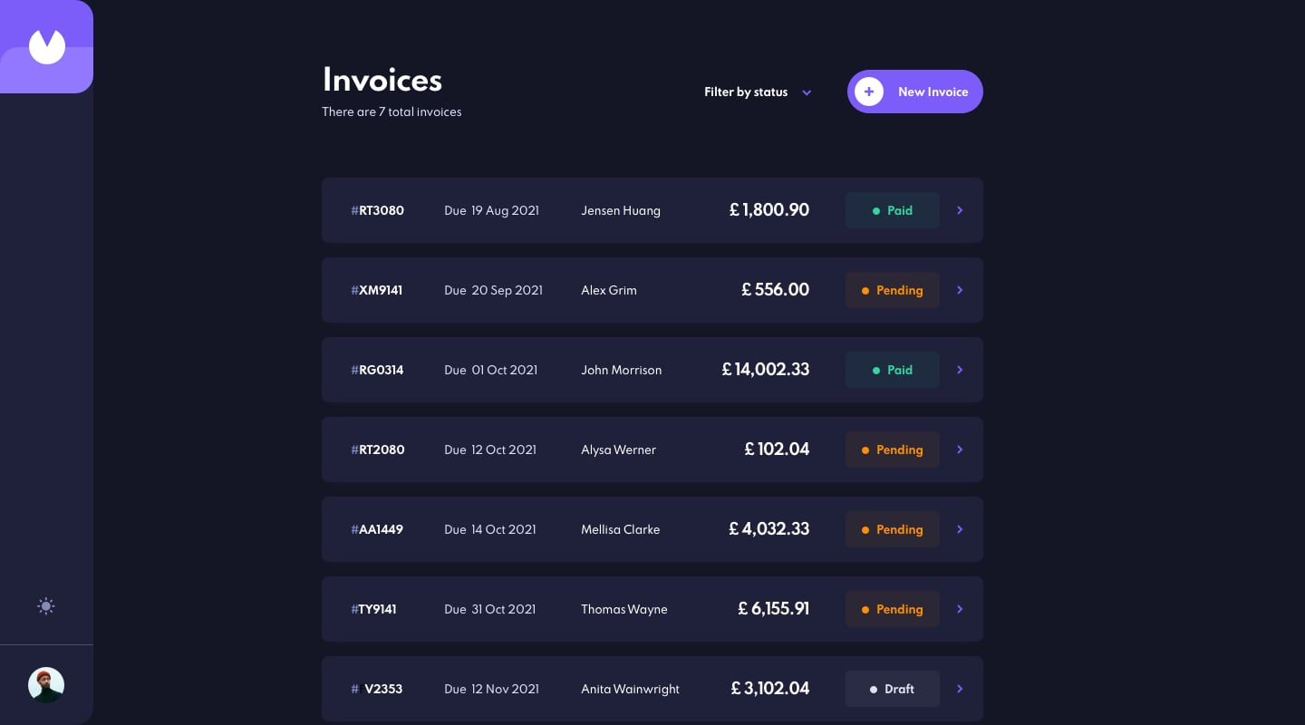 Design preview for Invoice app coding challenge