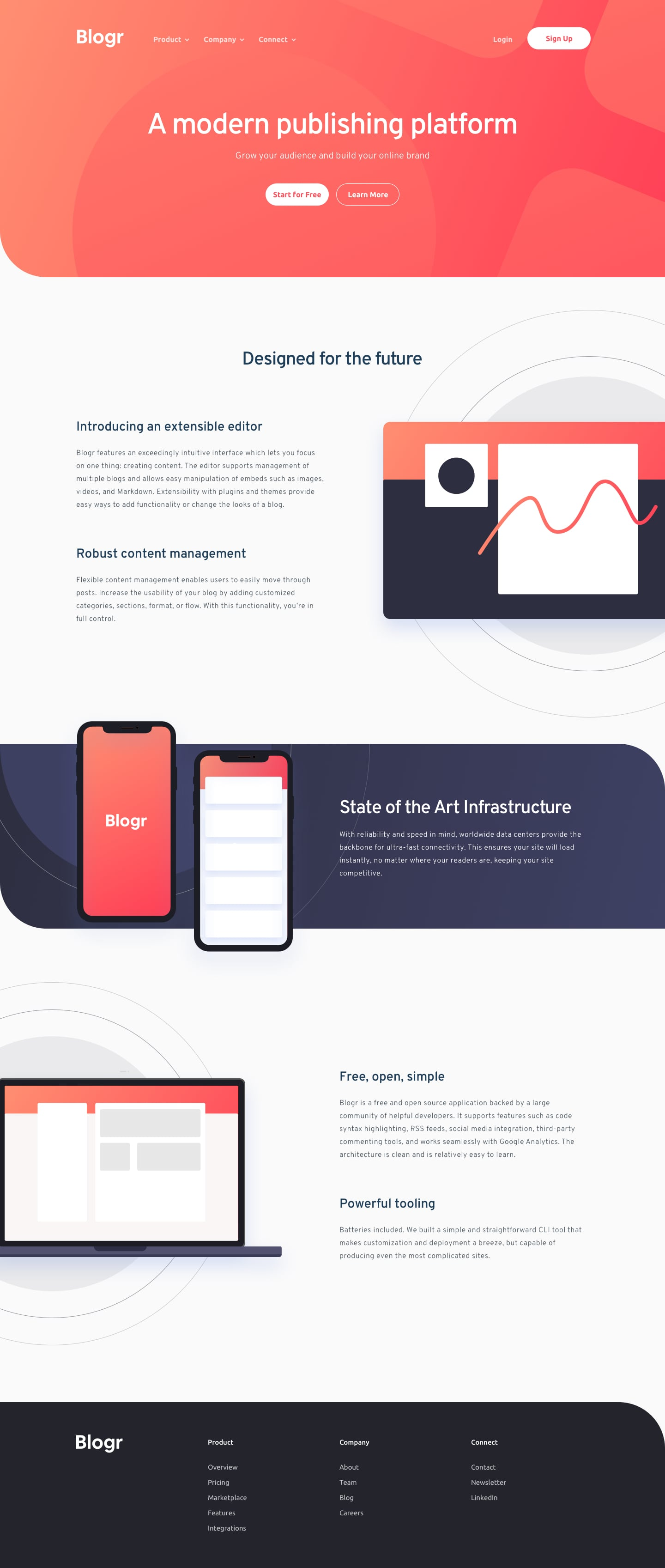 Design preview for Blogr landing page coding challenge