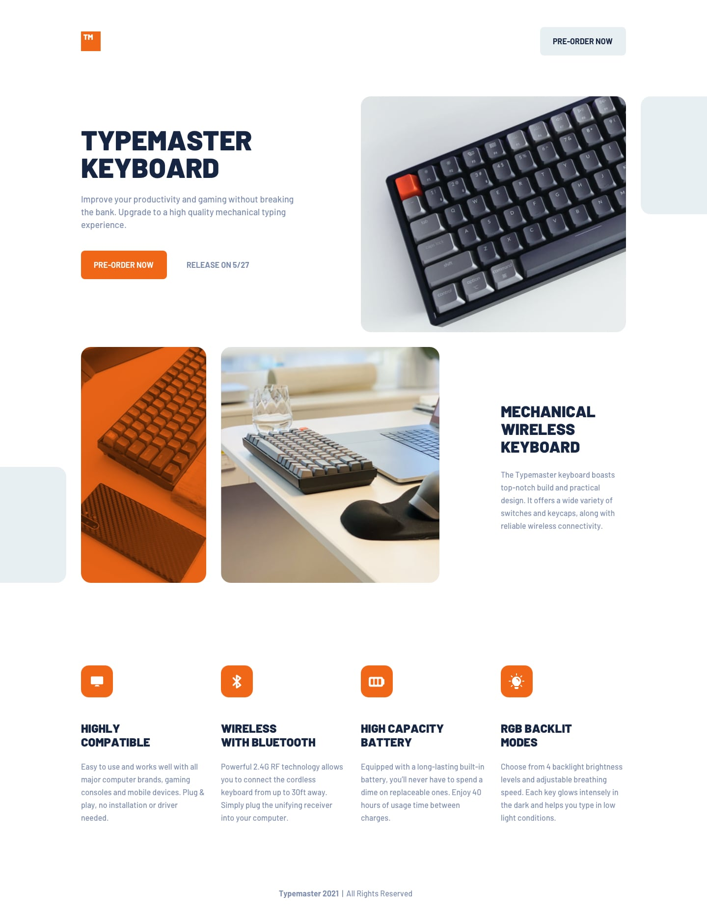Design preview for Typemaster pre-launch landing page coding challenge