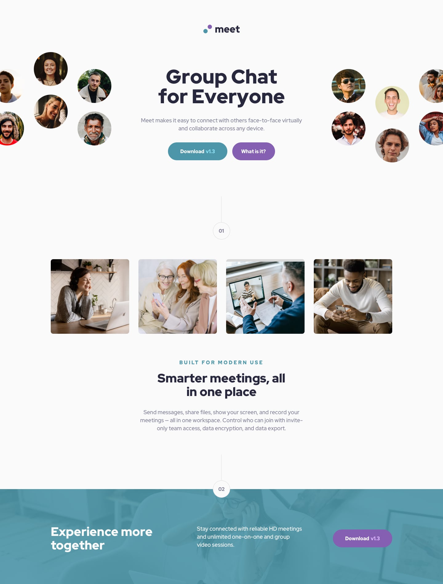 Design preview for Meet landing page coding challenge