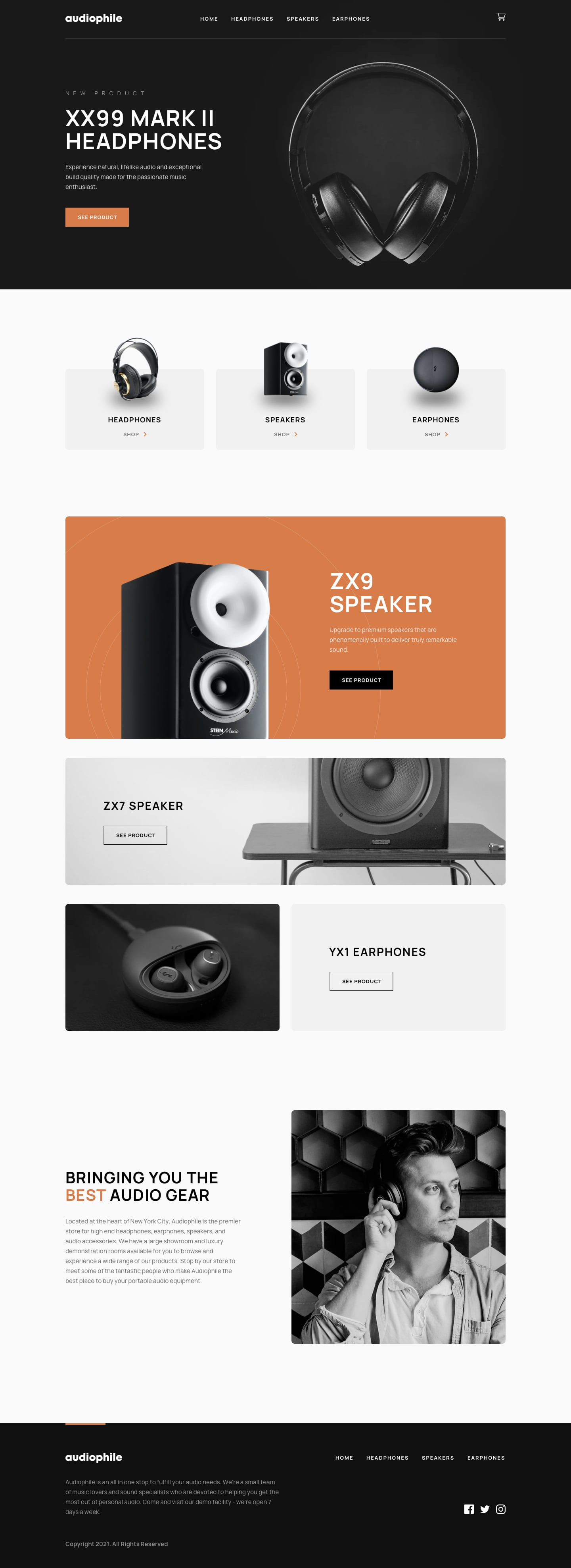 Design preview for Audiophile e-commerce website coding challenge