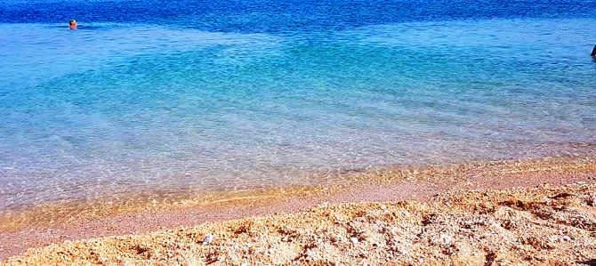 Ostrov Pag, pláž Ručica, Chorvatsko