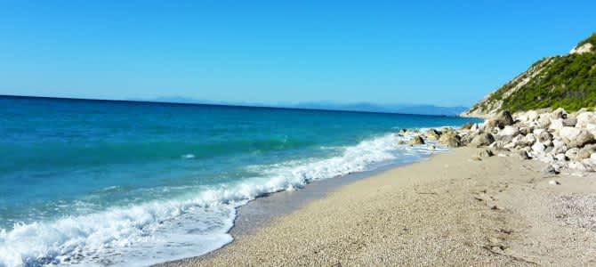 Lefkada, pláž Kathisma, Řecko