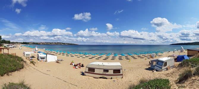 Sozopol, pláž Kavatsite, Bulharsko
