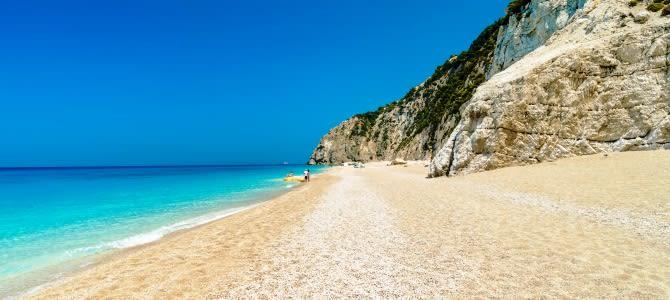 Lefkada, pláž Egremni, Řecko