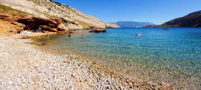 Korčula, pláž Luka, Chorvatsko