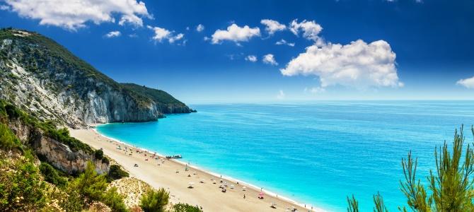 Lefkada, pláž Milos, Řecko