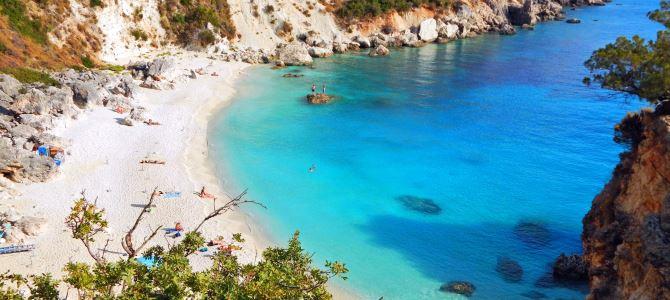 Lefkada, pláž Agiofylli, Řecko