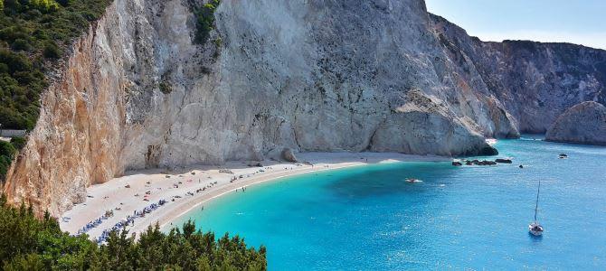 Lefkada, pláž Porto Katsiki, Řecko
