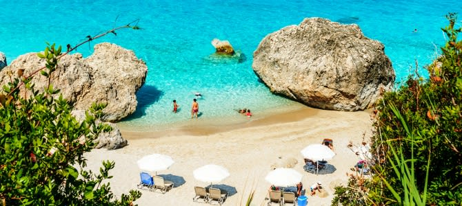 Lefkada, pláž Kavalikefta, Řecko