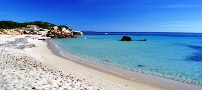 Sardinie, pláž Spiaggia di Is Arutas, Itálie