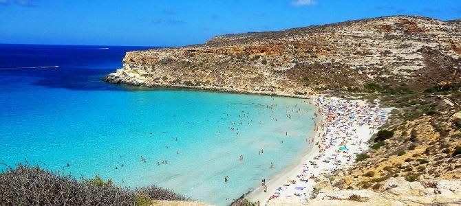 Lampedusa, Pláž Rabbit, Itálie