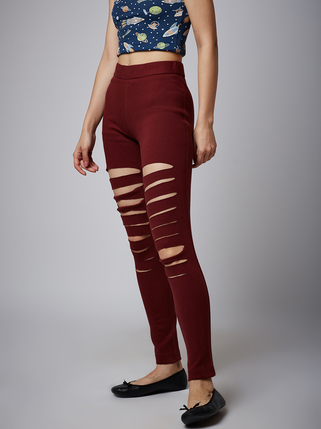 76f3cb8f4ff94 Burgundy Ripped Jeggings – Online Shop For Women Skirts Jeans