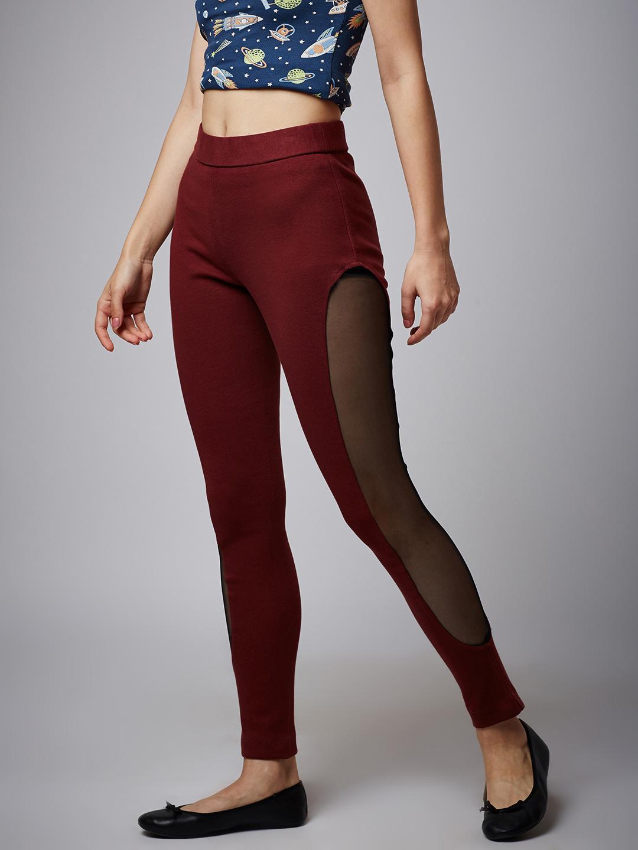 9f65143d4f Side Net Burgundy Jeggings – Online Shop For Women Skirts Jeans