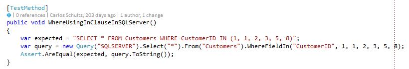 Exemplo de método de teste em C#