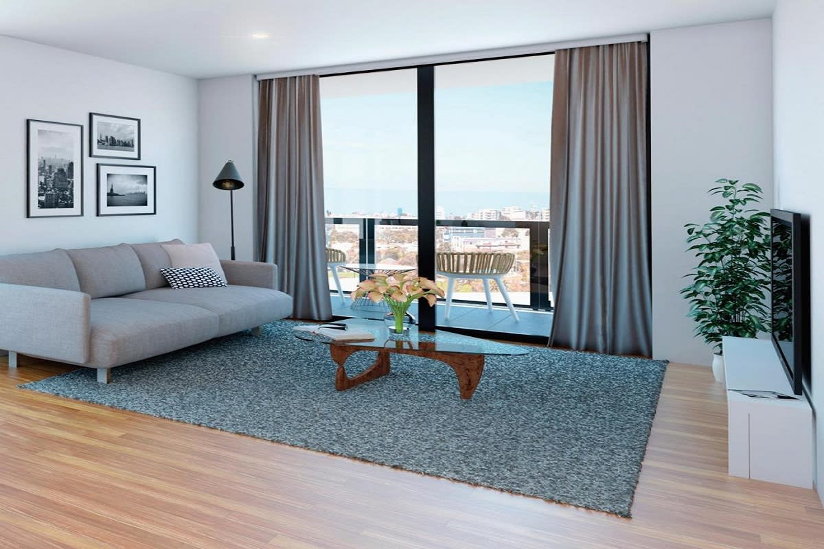 Rendering of an interior apartment with a view.
