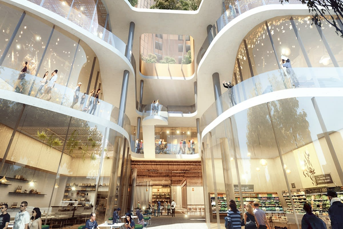 Rendering of the retail portion of Sky One. Image by apartmentdevelopments.com