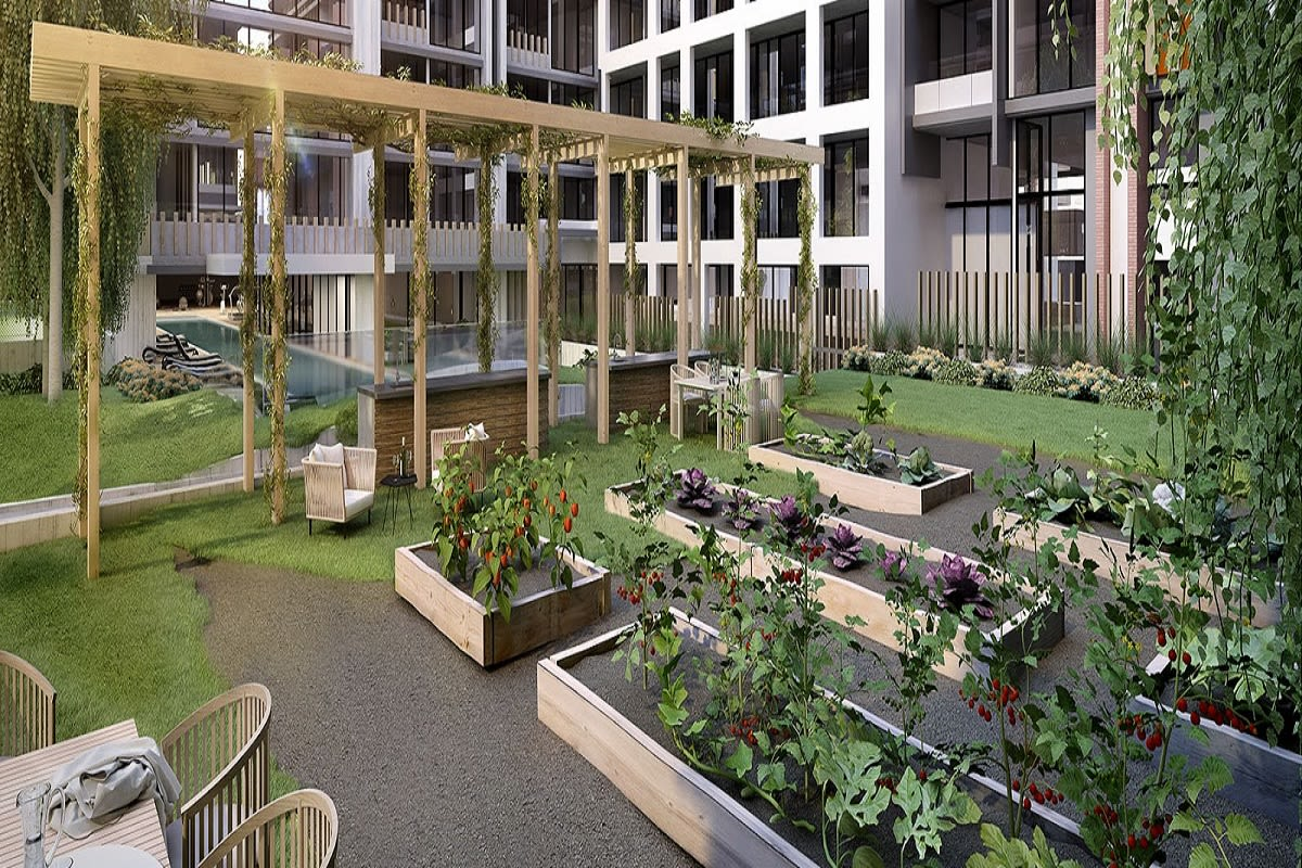 Rendering of one of Mason Square's outdoor garden and dining spaces.