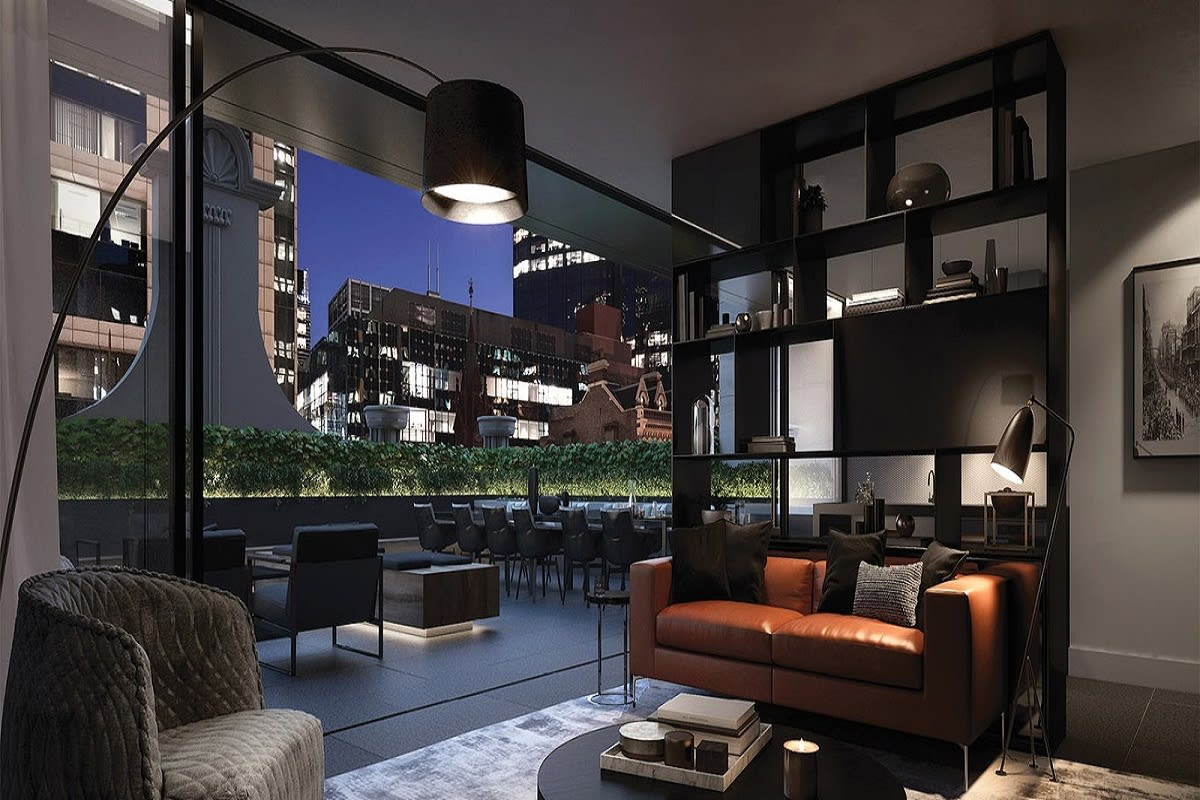 Collins Terrace with indoor and outdoor lounge space.
