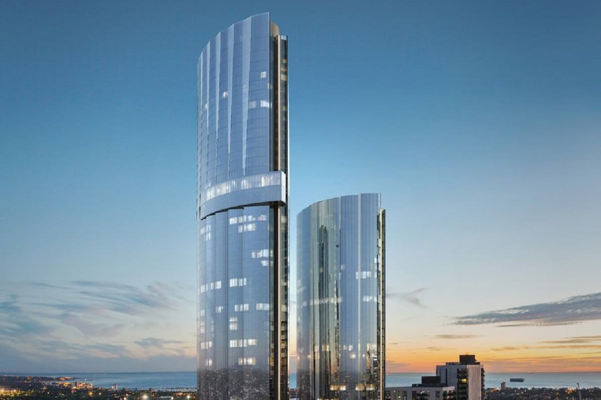 Rendering of Melbourne Square towers 1 and 2. Image by COX architecture.