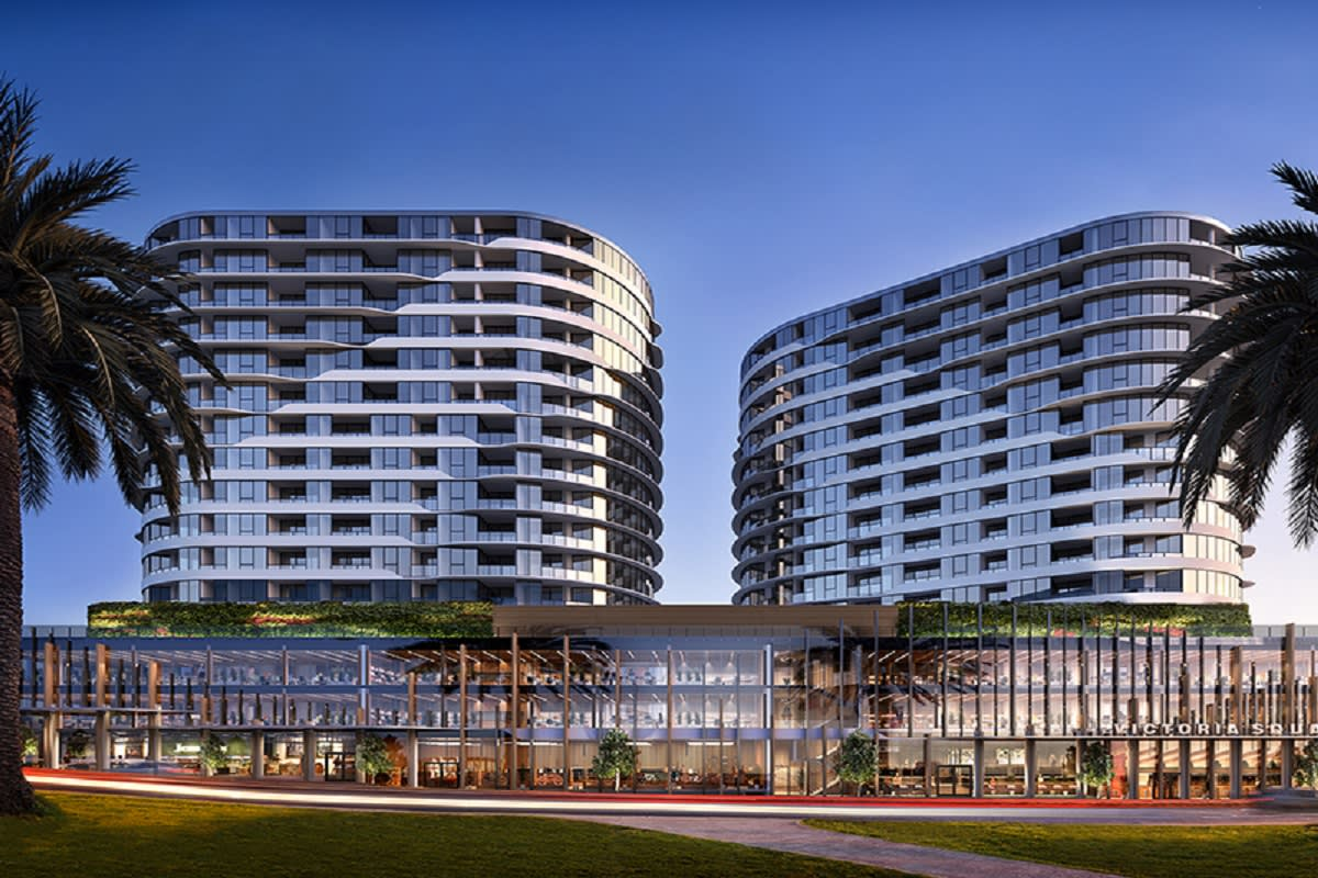 Latest rendering of Victoria Square, Footscray. Image via realestate.com
