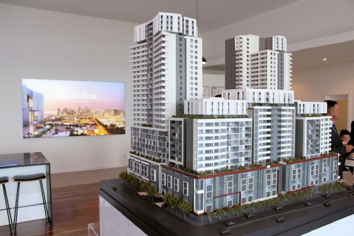 Image of the full scale model featuring the two 31 story towers.