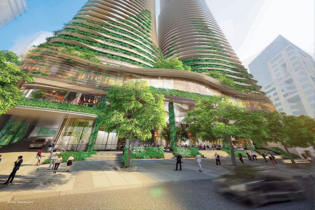 Lively, green podium. Rendering by S P Setia of Sapphire by the Gardens.