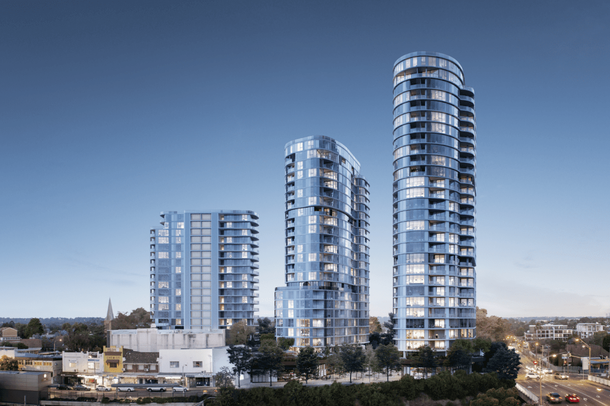 Rendering of the three towers that make up The Langston towers.