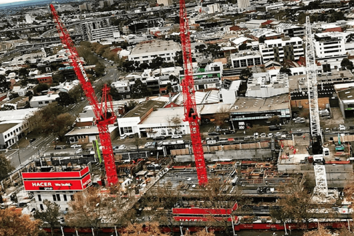 Three cranes rising from the project site. Image by Hacer Group Instagram.