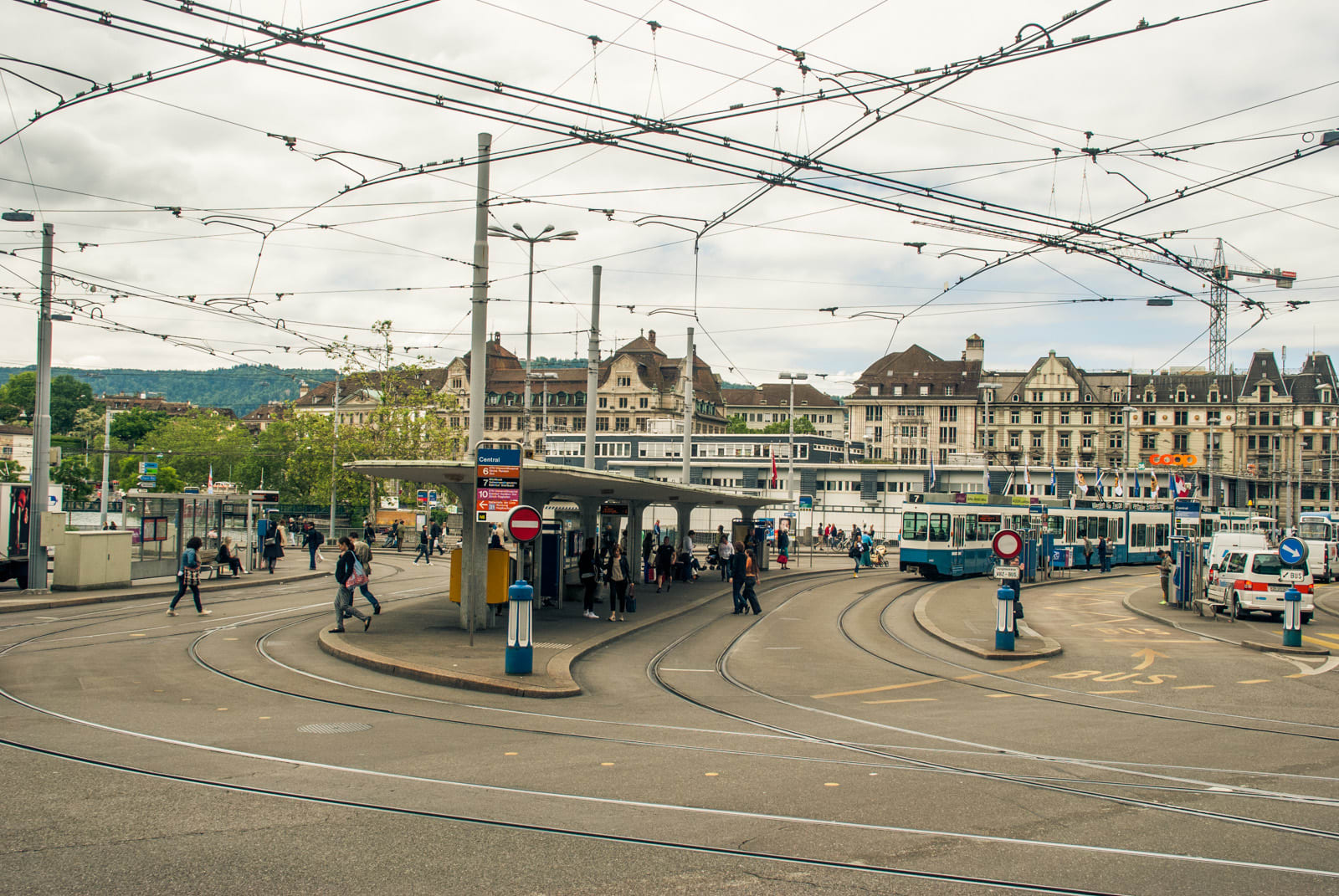 Central tram interchange near the Zurich Hauptbahnhof (main station)