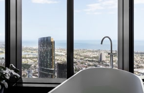 Apartments in South Melbourne's Australia 108, the Southern Hemisphere's tallest residential tower, have been listed
