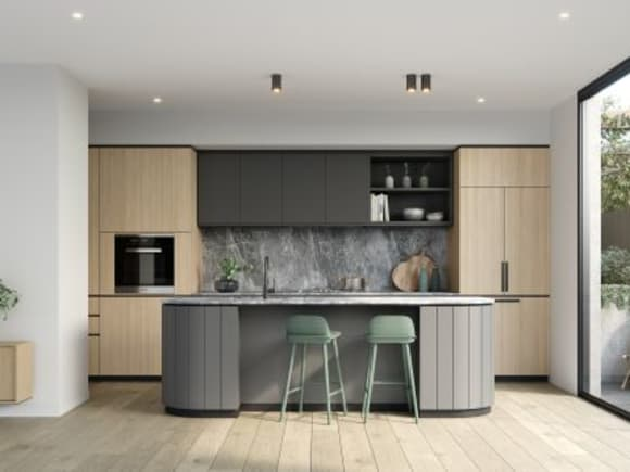 Modern kitchens with high end appliances and bespoke cabinetry.  Image credit: Lowe Group
