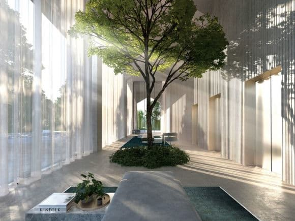 Artist impression of River One lobby.