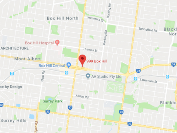 Location of 999 Box Hill on Whitehorse Road. Image by Google Maps.