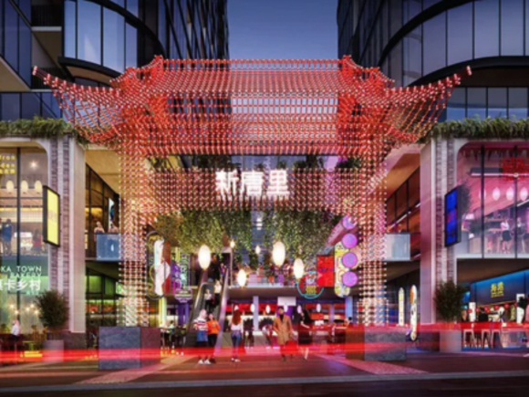 New Chinatown rendering for Box Hill. Three levels of Chinese restaurants.
