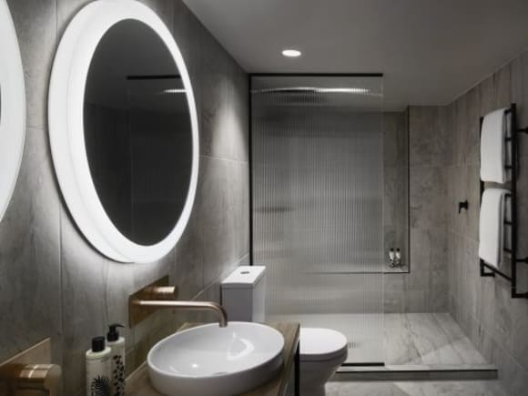 One of the bathrooms which features a Nanotechnology coating