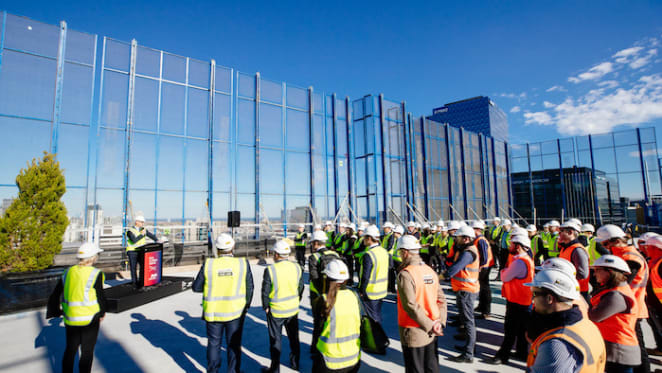 Topping Off at Mirvac's office Docklands development
