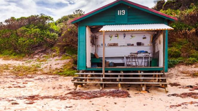 One of the few remaining bathing boxes at Mount Eliza listed for sale