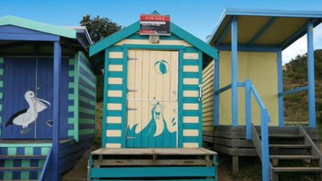 Freshly painted bathing box at the Mornington Peninsula listed for sale