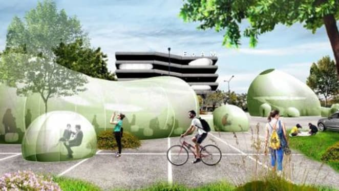 Inflatable offices of the future for digital nomads