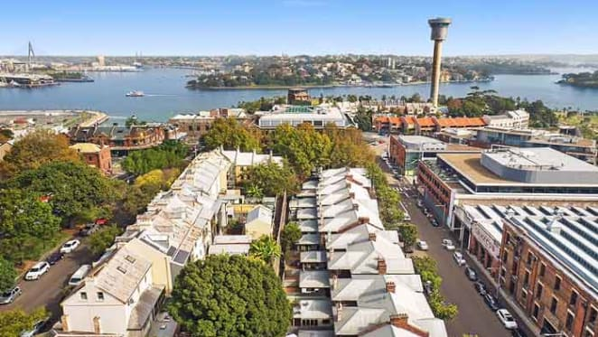 Nine terraces on Windmill Street, Millers Point listed for sale